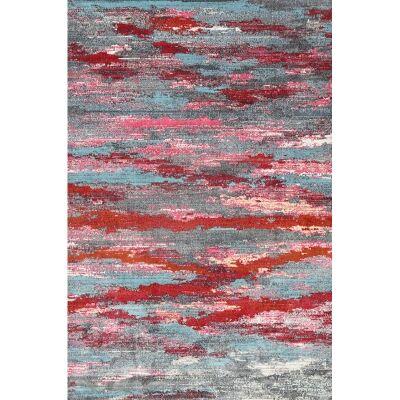 Aqua Silk Spezia Turkish Made Modern Rug, 250x350cm, Multi Red