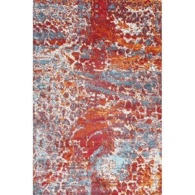 Aqua Silk Cannes Turkish Made Modern Rug, 250x350cm, Multi Red