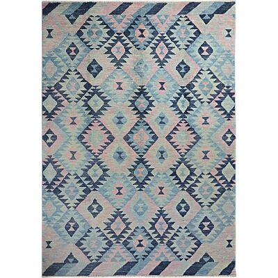 One of A Kind Aqsa Hand Knotted Wool Maimana Kilim Rug, 306x208cm, Ocean