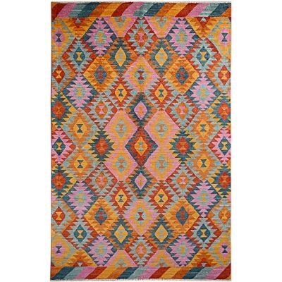 One of A Kind Aqsa Hand Knotted Wool Maimana Kilim Rug, 299x194cm, Tropical Fruit