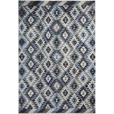 One of A Kind Aqsa Hand Knotted Wool Maimana Kilim Rug, 305x197cm, Black / Blue