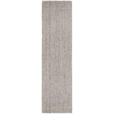 Arabella Hand Loomed Wool & Jute Runner Rug, 400x80cm, Grey / Natural