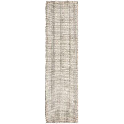 Arabella Hand Loomed Wool & Jute Runner Rug, 400x80cm, Cream / Natural