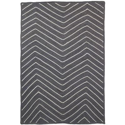 Artisan Chevron Handmade Jute Rug, 150x220cm, Grey
