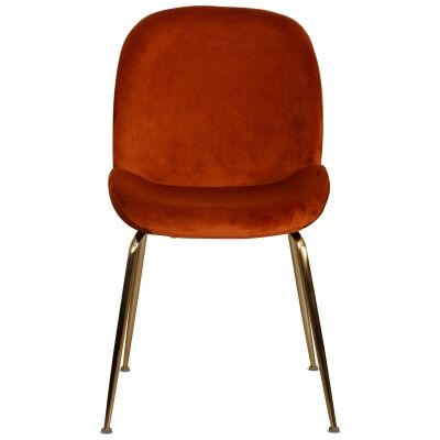 Aizel Velvet Fabric Dining Chair, Rust / Gold