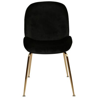Aizel Velvet Fabric Dining Chair, Black / Gold