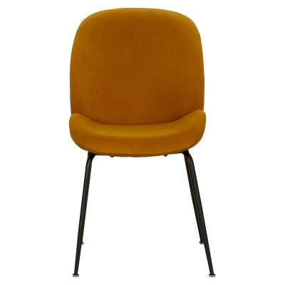 Aizel Velvet Fabric Dining Chair, Mustard
