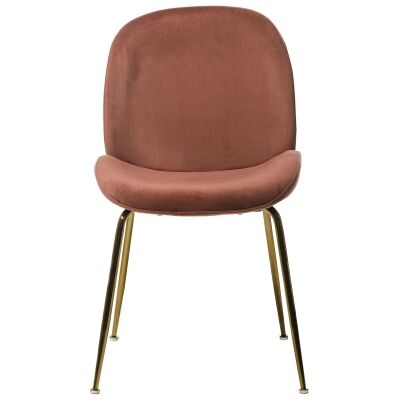 Aizel Velvet Fabric Dining Chair, Blush / Gold