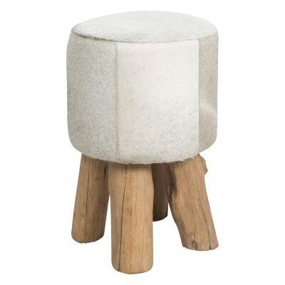 Makoto Cow Hide Round Ottoman Stool, Light Grey