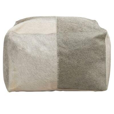 Makoto Cow Hide Square Beanbag Pouffe Ottoman, Light Grey