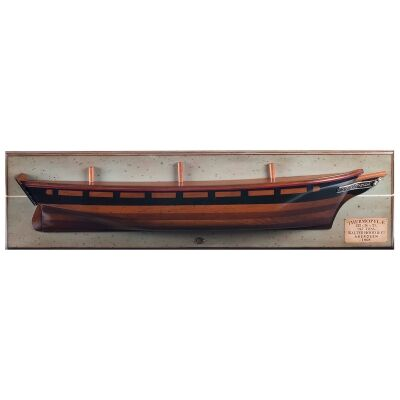 Handcrafted Wooden Clipper Thermopylae 1868 Half Hull Model on Plaque