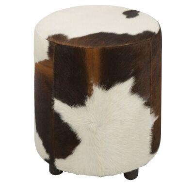 Lorenzen Cow Hide Round Ottoman, Brown / White