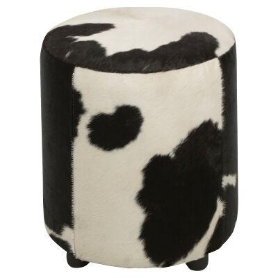 Lorenzen Cow Hide Round Ottoman, Black / White