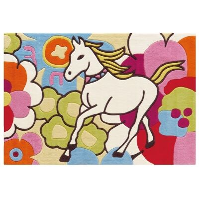 Arte Espina Horse and Flowers Hand Tufted Kids Rug, 160x110cm