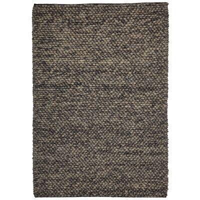 Aspen Handwoven Wool Rug, 140x70cm, Dark Grey