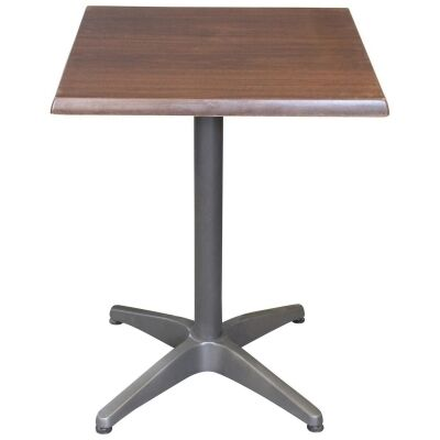 Mestre Commercial Grade Square Dining Table, 60cm, Dark Walnut / Anthracite
