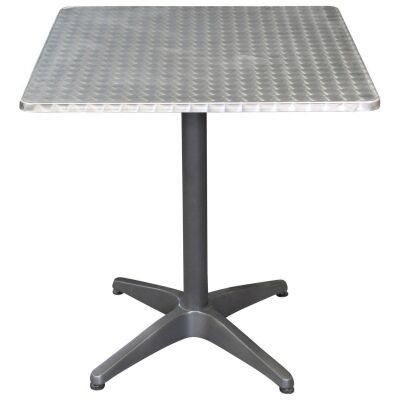 Mestre Commercial Grade Square Dining Table, 70cm, Silver / Anthracite