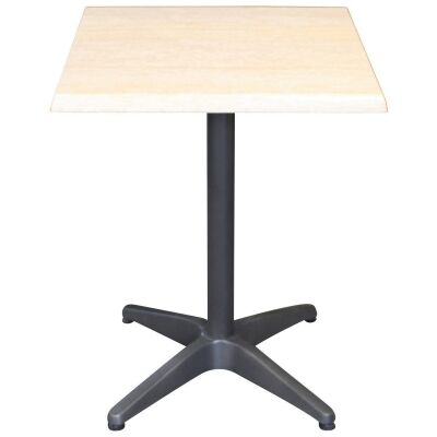 Mestre Commercial Grade Square Dining Table, 70cm, Travertine / Anthracite