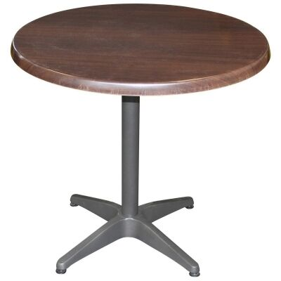 Mestre Commercial Grade Round Dining Table, 80cm, Dark Walnut / Anthracite
