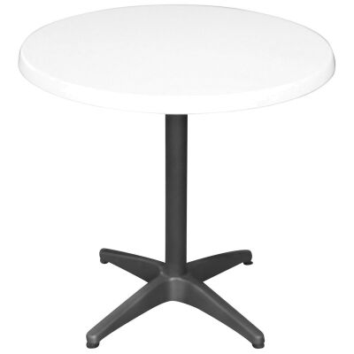 Mestre Commercial Grade Round Dining Table, 80cm, White / Anthracite