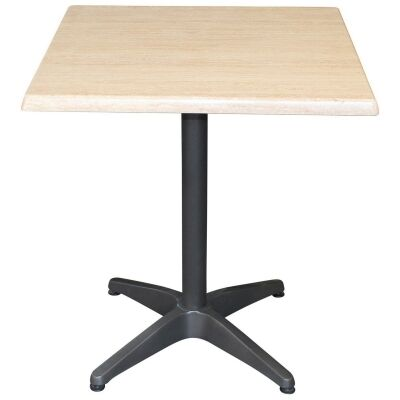 Mestre Commercial Grade Square Dining Table, 80cm, Travertine / Anthracite