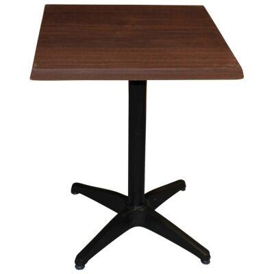 Mestre Commercial Grade Square Dining Table, 60cm, Dark Walnut / Black