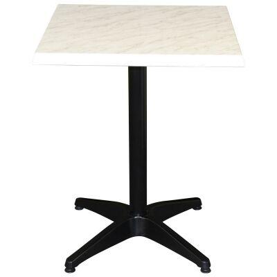 Mestre Commercial Grade Square Dining Table, 60cm, Light Marble / Black