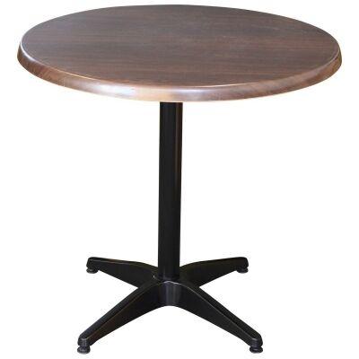 Mestre Commercial Grade Round Dining Table, 60cm, Dark Walnut / Black