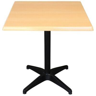 Mestre Commercial Grade Square Dining Table, 70cm, Beech / Black