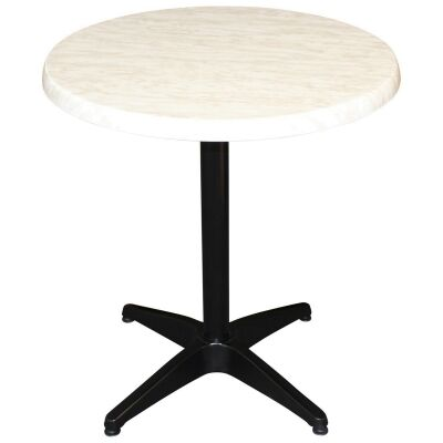 Mestre Commercial Grade Round Dining Table, 70cm, Light Marble / Black