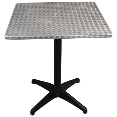 Mestre Commercial Grade Square Dining Table, 70cm, Silver / Black