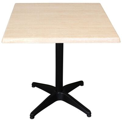 Mestre Commercial Grade Square Dining Table, 70cm, Travertine / Black