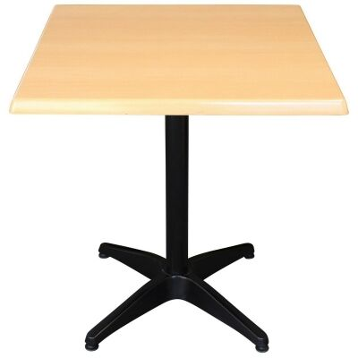 Mestre Commercial Grade Square Dining Table, 80cm, Beech / Black