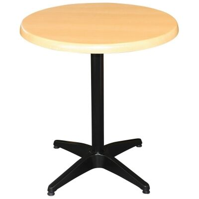 Mestre Commercial Grade Round Dining Table, 80cm, Beech / Black