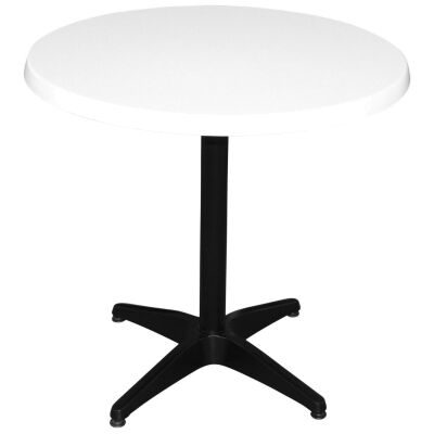 Mestre Commercial Grade Round Dining Table, 80cm, White / Black