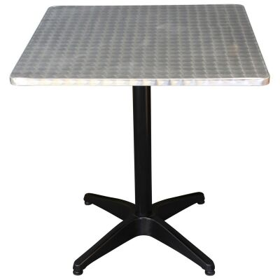 Mestre Commercial Grade Square Dining Table, 80cm, Silver / Black