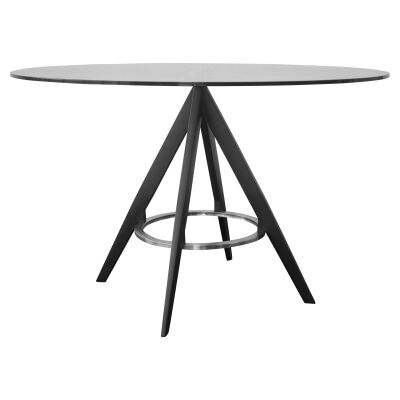 Astro Glass & Metal Dining Table, 120cm, Black