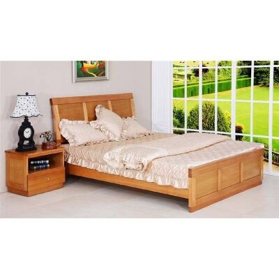 Moselia Moselia Tasmanian Oak Timber Bed, King, Wheat