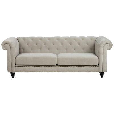 Charles Velvet Fabric Chestfield Sofa, 3 Seater, Sand