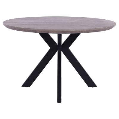Axle Round Dining Table, 120cm, Grey Oak