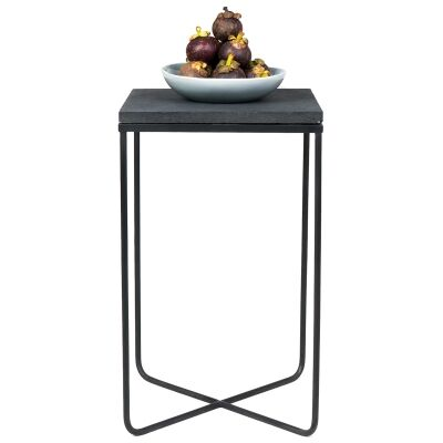 Lyra Commercial Grade  Lava Stone Top Side Table