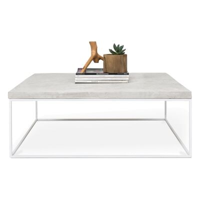 Josie Commercial Grade Concrete & Steel Square Coffee Table, 90cm, White