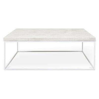 Josie Commercial Grade Concrete & Steel Coffee Table, 100cm, White