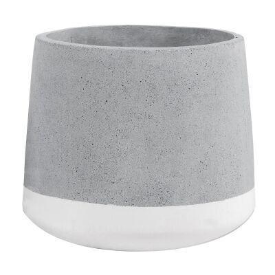 Alanis Concrete Pot Planter, Medium, Grey / White
