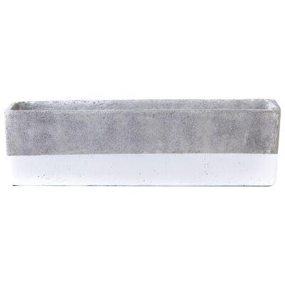 Alanis Concrete Rectangle Planter, Grey / White