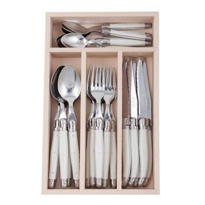 Andre Verdier Debutant Cutlery Set, 24 Piece, White