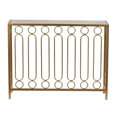 Ring Bar Iron & Marble Console Table, 94cm