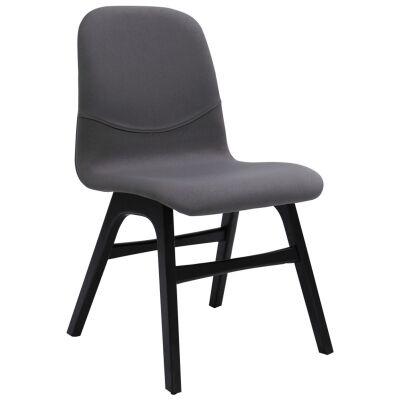 Ava Commercial Grade Fabric Dining Chair, Paloma Grey / Ebony