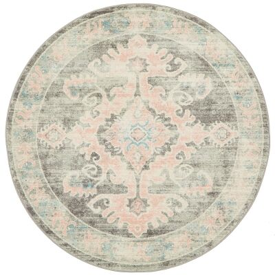 Avenue No.701 Tribal Round Rug, 240cm, Dusty Pink / Grey
