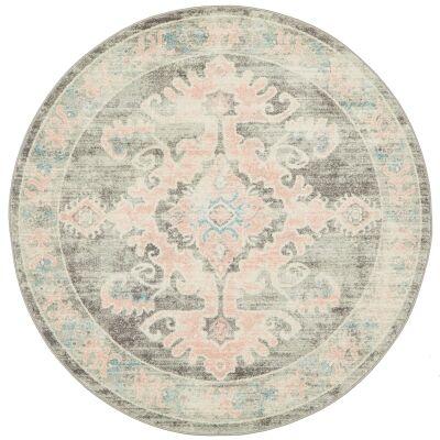 Avenue No.701 Tribal Round Rug, 200cm, Dusty Pink / Grey
